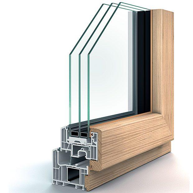 Nové možnosti na trhu plastových oken přináší inovativní designový okenní profil Eforte Fusion od firmy Inoutic. Na plastové okno se zvnitřní strany umísťuje dřevěný, zvnější hliníkový kryt. Výsledkem je kombinace všech vlastností: tepelněizolační hodnoty aodolnost plastového okna, přírodní vzhled dřeva vinteriéru aneutrální design hliníku vexteriéru. Foto Inotic