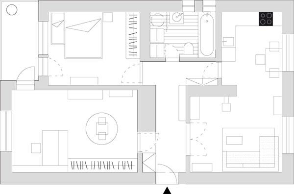 Půdorys bytu po rekonstrukci