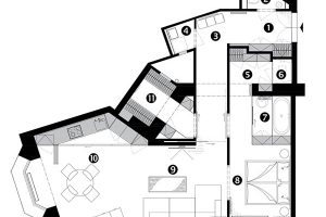 Půdorys po rekonstrukci 1 vstup do bytu 2 toaleta 3 chodba 4 komora 5 šatna 6 sprchový kout 7 koupelna 8 ložnice 9 obývací pokoj 10 kuchyňská část sjídelním sezením 11 šatna