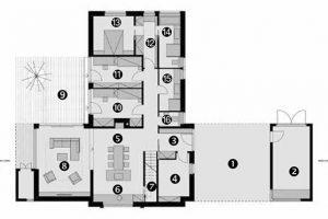 Půdorys přízemí 1 kryté stání 2 dílna/sklad 3 zádveří 4 technologie 5 stolování 6 příprava jídel 7 spíž 8 odpočinek 9 terasa 10 dětský pokoj 11 dětský pokoj 12 šatna 13 ložnice 14 koupelna rodičů 15 koupelna 16 WC