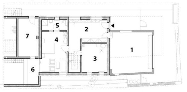 1 garáž 2 vstupní hala 3 technická místnost 4 pokoj pro hosty 5 koupelna aWC 6 terasa 7 sklad