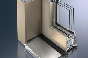 Metalická povrchová úprava Schüco AutomotiveFinish u posuvného systému ThermoSlide (odstín gold) FOTO SCHÜCO CZ