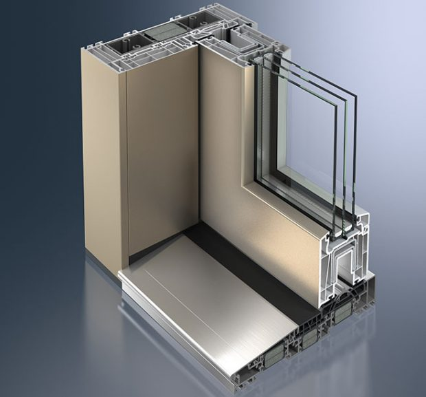 Metalická povrchová úprava Schüco AutomotiveFinish u posuvného systému ThermoSlide (odstín gold)