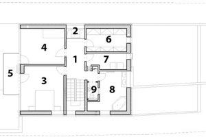 1 chodba 2 světlík nad krbem 3 ložnice 4 ložnice 5 balkon 6 šatna 7 prádelna 8 koupelna 9 WC