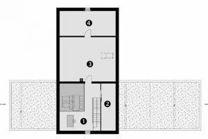 Půdorys podkroví 1 pracovna 2 komora/sklad 3 pokoj pro hosta/rezerva 4 sklad/rezerva