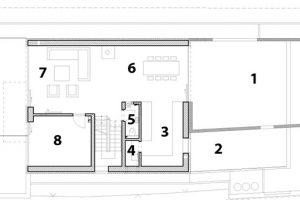 1 severní terasa – patio 2 střešní bylinková zahrádka 3 kuchyň 4 komora 5 WC 6 jídelna 7 obývací pokoj 8 pracovna 9 jižní terasa