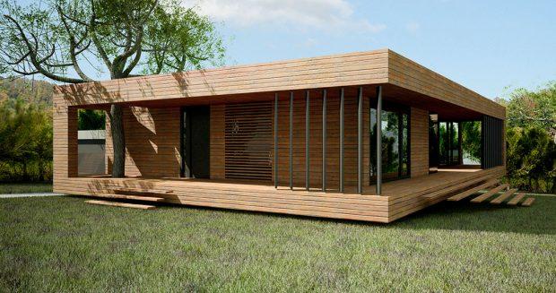 Jednopodlažní dřevostavba nabízí harmonické bydlení kousek od lesa