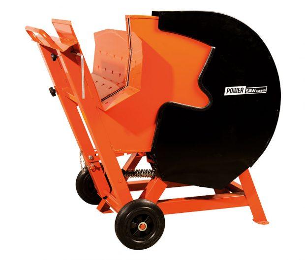 Powersaw LCS500, okružní pila s kolébkou pro řezání velkého množství polen o průměru 30 – 180 mm, zarážka pro řezání špalků stejné délky, elektromotor o příkonu 3,0 kW, prodává Mountfield, cena 8725 Kč