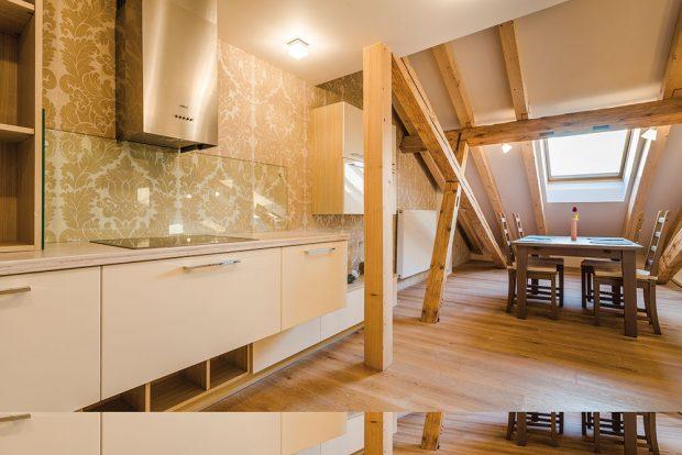Dřevěné trámy dodávají bydlení pod střechou jedinečnou atmosféru – většina znich je původní, měnily sejen poškozené části. FOTO MARTIN MATULA