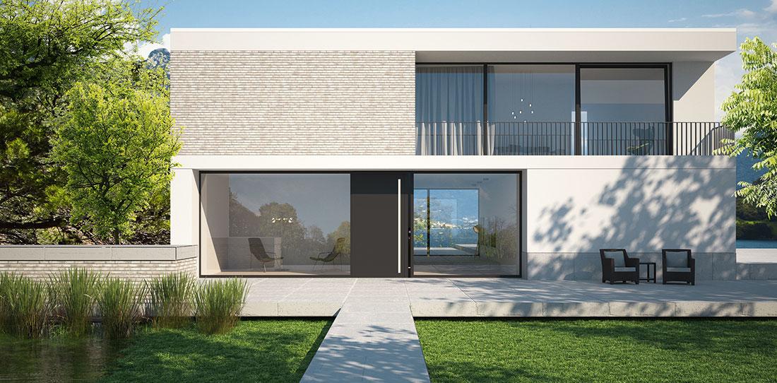 Nové vchodové dveře od Schüco: Dokonalé designové splynutí hliníkových dveří a osvětleného zapuštěného madla