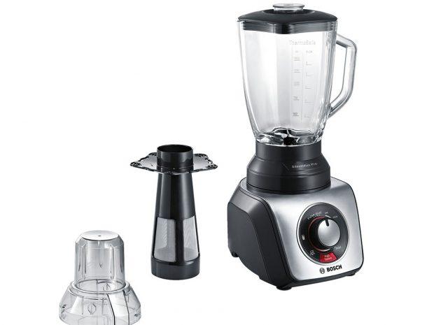 Mixér Bosch SilentMixx Pro, smoothie filter pro hladké smoothies, skleněná nádoba 2,3 l (pro jídlo 1,5 l), odolný nerezový nůž, 4 590 Kč, www.bosch.cz