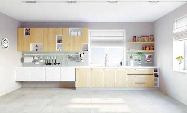 Kombinace přírodního dřeva abílé barvy vytváří čistou, neutrální kuchyň. Foto shutterstock