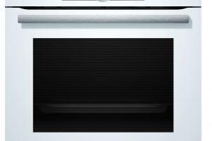 Elektrická pečicí trouba Bosch HBG6750W1, 4D horký vzduch pro distribuci tepla do všech prostorů, 10 přednastavených automatických programů, automatické čištění trouby, objem 71 l, energetická třída A+, 23 990 Kč.