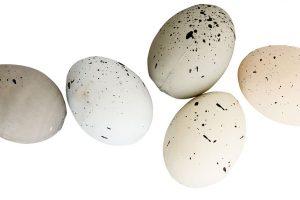 Drobná vajíčka nemusíte pouze zavěšovat na větvičky. Stačí je nasypat do misky, na podnos, nebo do květináče.