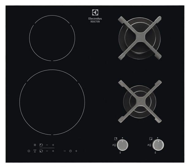 Varná deska Electrolux EGD6576NOK, kombinace indukčních varných zón aplynových hořáků, časovač pro automatické vypnutí desky po uplynutí doby přípravy jídla, funkce Stop+Go pro pozastavení procesu vaření, 17 282 Kč.