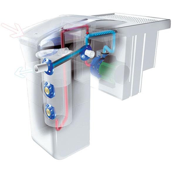 Detail závěsné filtrační jednotky bez potrubních rozvodů. Filtrace může také být zabudována přímo do stěny bazénu. FOTO BAZÉNY DESJOYAUX