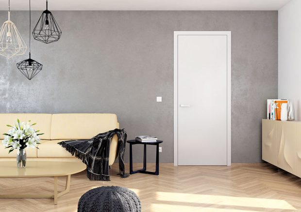 Dveře Elegant zvýběrové dýhy ahranou shliníkovým profilem, jsou dostupné vmnoha odstínech. Tyto dveře nejlépe doplní zejména moderní alehce zařízené interiéry. Foto Sapeli