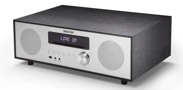 Audiosystém Sencor SSS 801, dřevěnohliníkové provedení, 3 reproduktory, 5 režimů ekvalizéru, přehrává CD, MP3, CD-R, CD-RW, vybaven rozhraním Bluetooth pro bezdrátový přenos hudby, stereo jackem iUSB konektorem, 3 499 Kč.