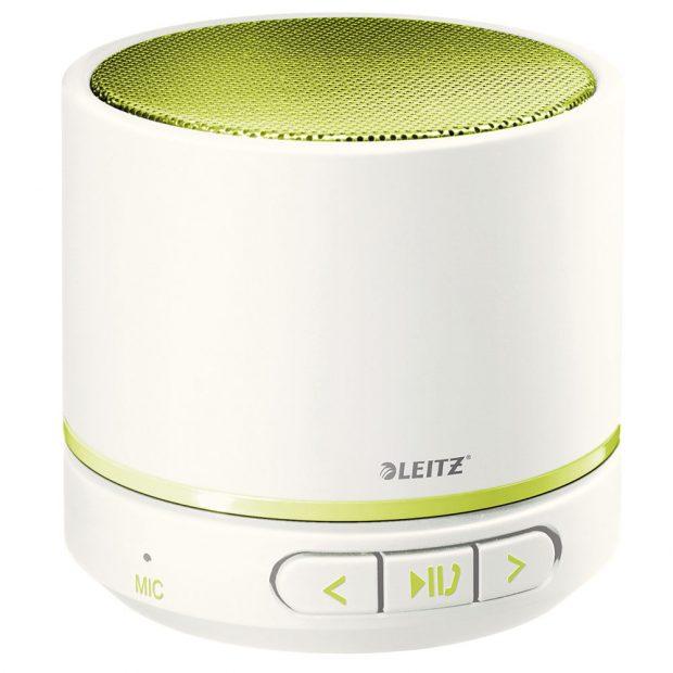 Bluetooth mini reproduktor smikrofonem Leitz WOW, kompaktní apřenosný, zabudovaný mikrofon pro konferenční hovory, snadné spárování smobilním zařízením pomocí Bluetooth, integrovaný MP3 přehrávač spodporou Micro SD karet, 1056 Kč.