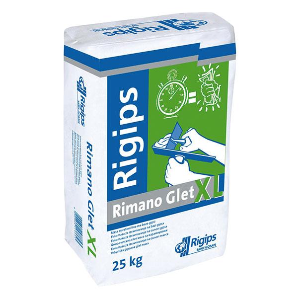 Rimano GLET XL Jemná, bílá sádrová stěrka, vhodná pro ruční istrojní zpracování, pro lokální opravy nerovností iceloplošné stěrkování. www.rigips.cz