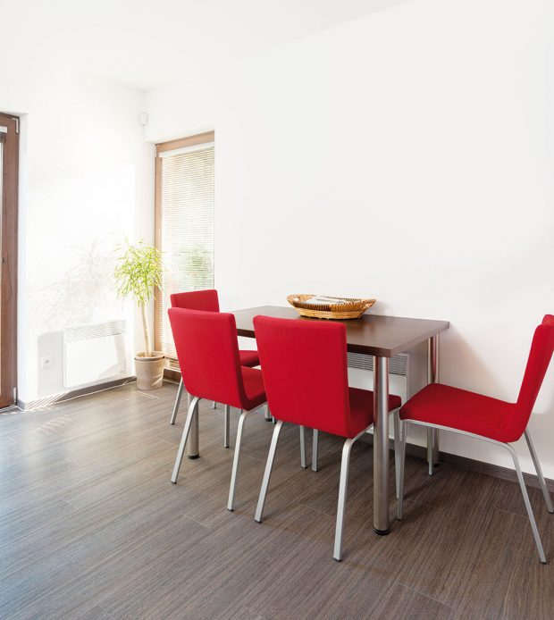 Červené kuchyňské židle oživují střídmý interiér. Foto RD Rýmařov