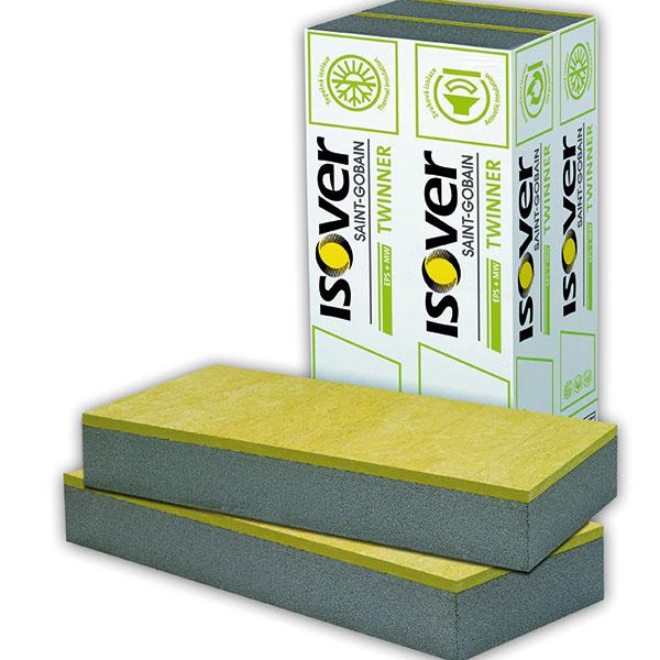Isover TWINNER je sendvičově uspořádaná tepelně a zvukově izolační deska, jejíž jádro je tvořeno grafitovou izolací, krycí vrstvou je minerální vlna konstantní tloušťky 30 mm. Vyznačuje se výbornou tepelnou izolací, požární odolností a dobrými akustickými vlastnostmi. Předností je i jednoduchost aplikace a cenová dostupnost. FOTO ISOVER