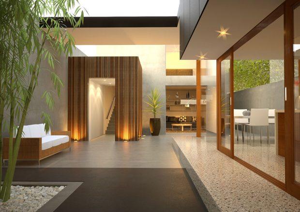 Barevný pohledový beton se dá výborně zkombinovat se sklem a dřevem. zdroj: Českomoravský beton
