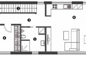 Půdorys přízemí 1 předsíň 2 komora pod schody 3 chodba 4 ložnice 5 koupelna + WC 6 otevřený denní prostor – obývací pokoj, jídelna, kuchyň