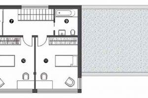 Půdorys poschodí 7 chodba 8 technická místnost 9 koupelna 10 dětský pokoj 11 dětský pokoj