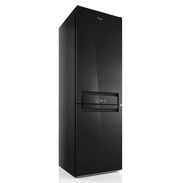 Whirlpool BSNF 8893 PB, kombinovaná chladnička, černé sklo, energetická účinnost A+++, výška 188,5 cm, šířka 59,5 cm, hloubka 65,5 cm, objem 309 l, technologie noFrost, FreezeControl, FreshControl, nadstandardní sektorové osvětlení, specifické přihrádky pro různé druhy potravin, 26 990 Kč.