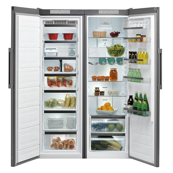 Whirlpool SW8 AM2C XR, Whirlpool UW8 F2C XBI N, separátní monoklimatická chladnička, doplněná osamostatnou mrazničku, velký objem potravin, hloubka 60 cm, objem 363 l, systém FreshControl, rychlá obnova teploty po otevření azavření dvířek, systém Multiflow, technologie NoFrost, cena chladničky 14990 Kč, cena UW8 F2C XBI N 15990 Kč.