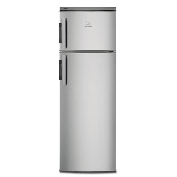 Elextrolux EJ2302AOX2, volně stojící kombinovaná chladnička, energetická účinnost A++, výška 140,4 cm, šířka 54,5 cm, hloubka 60,4 cm, celkový čistý objem 228 l, automatické odmrazování, zvukový avizuální alarm vysoké teploty, nastavitelné nožičky pro větší stabilitu, 10 576 Kč.