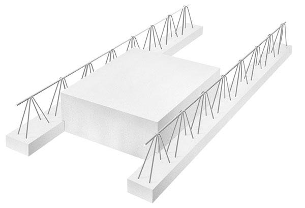 Do skupiny kusového zdiva lze zahrnout také stropní vložku, která je součástí montovaného konstrukčního systému pro stropy, tvořeného ŽB nosníky Ytong a vložkami Ytong+. FOTO YTONG