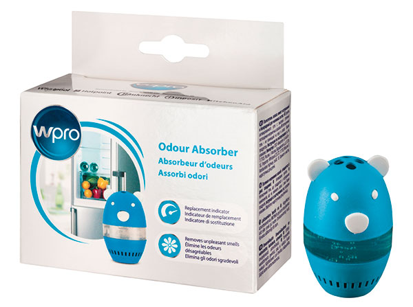 Pohlcovač zápachu do chladničky Wpro DEO 213, miniaturní pohlcovač má praktické balení, – lze ho umístit například do přihrádky na vajíčka, obsahuje vysoce absorbční aktivní uhlí ašetrný gel, který nemění chuť ani vůni uložených potravin, 105 Kč.