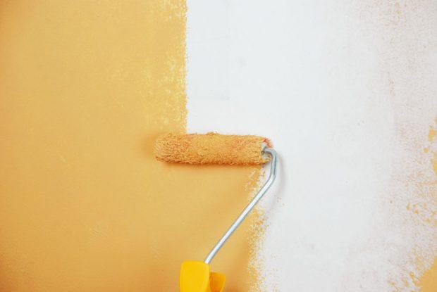 11. NATÍRÁNÍ Zbytkem barvy zposledního malování přetřeme opravenou plochu. Použijeme stejný aplikační nástroj, aby se struktura povrchu nelišila.Foto Marcela Gigelová