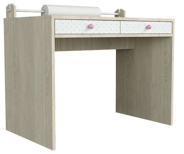 Stůl jako místo pro práci i výtvarná díla. Z role papíru, umístěné na desce, můžete papír bez omezení odstřihnout nebo odtrhnout. FOTO BONAMI