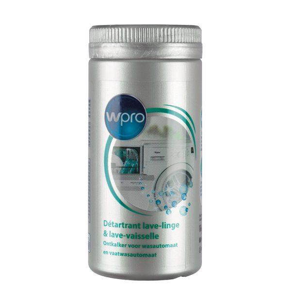 Wpro DES 708, odstraňovač vodního kamene v prášku, odstraňuje z myček a praček usazeniny vodního kamene, udržuje jejich správný výkon a prodlužuje životnost spotřebičů, doporučené používání odstraňovače každých 6 měsíců v cyklu na 60 °C, velikost balení 250 g, 142 Kč.