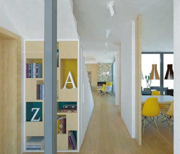 Chodba propojující jednotlivé zóny by měla vzhledově a materiálově korespondovat se zbytkem interiéru, díky čemuž bude působit jednotně, což oceníte nejen v menších prostorech. Uplatnění zde najde například i knížka, která ji zdynamizuje. FOTO: STUDENTSKÁ PRÁCE