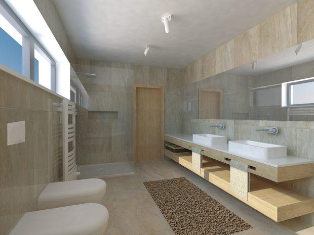 Propojení koupelny a toalety je otázkou priorit. Má-li však domácnost tři a více členů, měly by být samostatné nebo by se v interiéru měla nacházet ještě jedna toaleta – ideálně při vstupu, aby posloužila i v případě návštěv. FOTO: STUDENTSKÁ PRÁCE