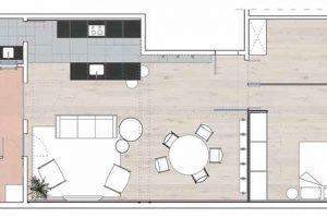 Půdorys 1 vstup do bytu 2 pokoj pro hosty 3 ložnice 4 jídelna 5 obývací pokoj 6 kuchyň 7 koupelna 8 terasa 9 prádelna