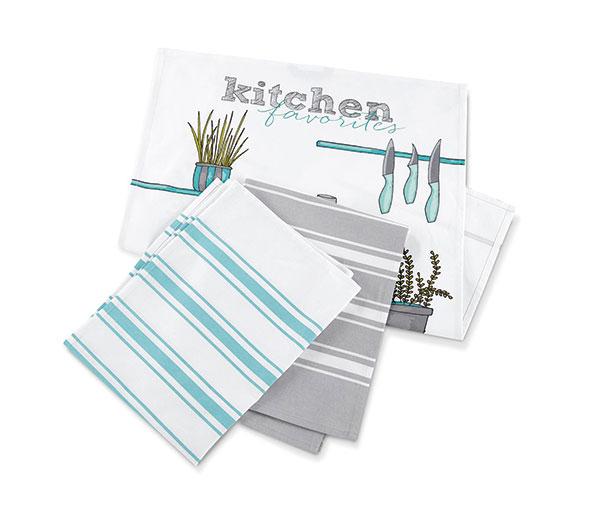 Tři kuchyňské utěrky všedé atyrkysové barvě, 100% bavlna, 50 × 70 cm, 229 Kč, www.tchibo.cz