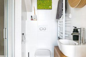 Stěnu v přízemní koupelně příjemně dotváří mechová dekorace. FOTO Nora aJakub Čaprnka