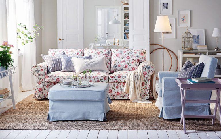 Komfortní a elegantní obývací pokoj ve stylu Shabby chic