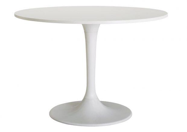 Stůl Docksta, výška 75 cm, průměr 105 cm, dřevovláknitá deska, akrylová barva, 3 990 Kč, IKEA