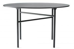 Stůl Snaregade, kulatý, černý, průměr 140 cm, dubové dřevo, ocel, výška 73 cm, www.menu.as