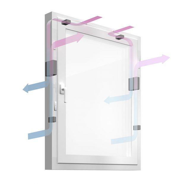 Patentovaný systém GENEO Inovent - nucené větrání s rekuperací přes okenní rám. zdroj REHAU