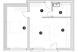 Dvoupokojový byt 1 předsíň 2 pokoj 3 obývací pokoj 4 koupelna + WC 5 kuchyňský kout sjídelnou 6 balkon
