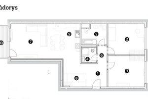 Třípokojový byt 1 předsíň 2 pokoj 3 pokoj 4 koupelna 5 koupelna 6 chodba 7 obývací pokoj sjídelnou 8 šatna 9 kuchyňský kout 10 balkon