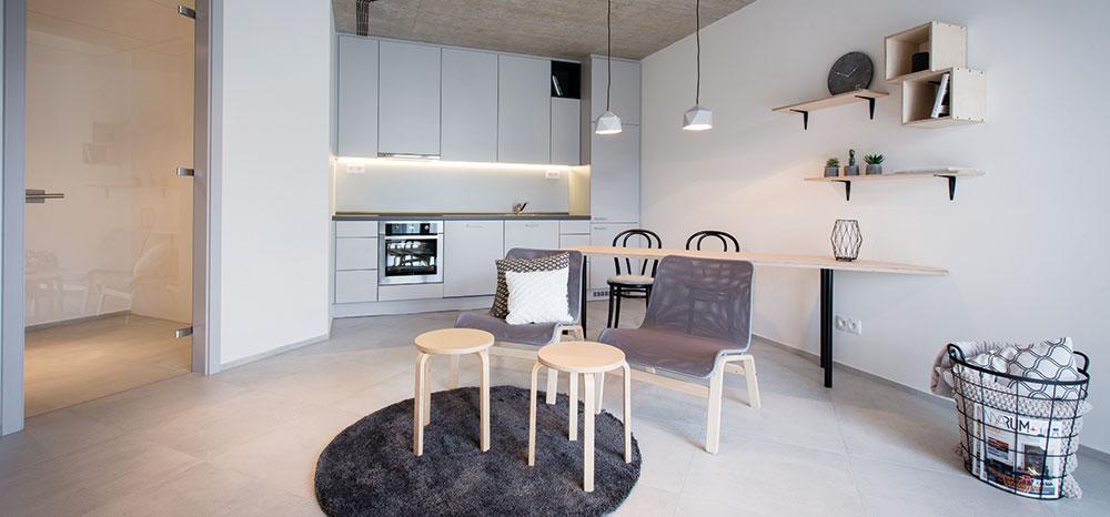 Barevnou kombinaci bílé ašedé barvy vmnoha odstínech otepluje přírodní překližka, která je použitá na jídelní apracovní stůl, police amalou nábytkovou sestavu vobývacím pokoji. FOTO FRANTIŠEK GÉLA, FABIÁN FRONČEK