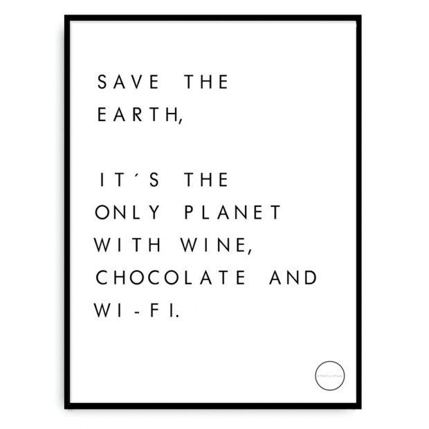 Plakát Save the earth, papír, 30 x 40 cm, bez rámečku, 419 Kč, www.nordicday.cz